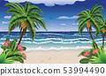 Beach and tropical sea 53994490
