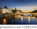 Boat tour on Seine river in Paris with sunset. 53995346