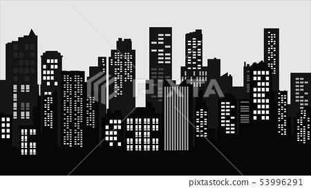 Silhouette City landscape. Modern building 53996291