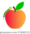 Caterpillar crawling on a ripe apple. 53996515