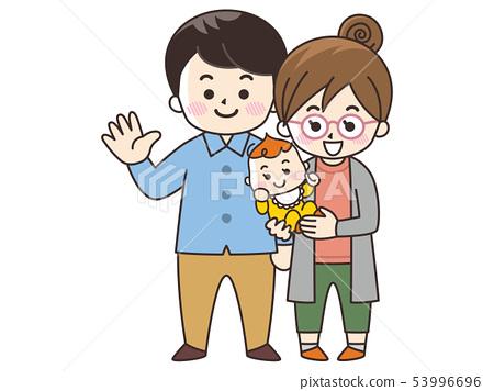 젊은 부부와 아기 가을 53996696