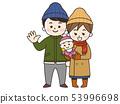 젊은 부부와 아기 겨울 53996698