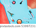 Fashion woman essentials on blue background 53997231