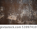 Old metal wall with peeled off paint. 53997410