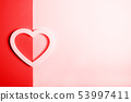 Pink heart on the double colored background. 53997411