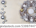 Christmas wreath  on wooden background. 53997447