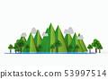 Nature landscape.Mountain, lake, tree. 53997514