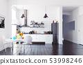 modern scandinavian style kitchen interior. 53998246