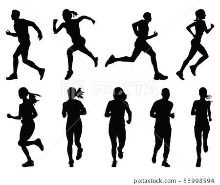 Black silhouettes of running on a white background 53998594
