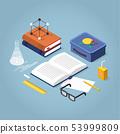 School Homework Isometric Illustration 53999809