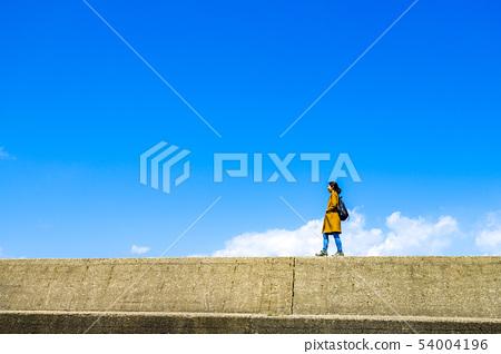여행을하는 여성 · 푸른 하늘 배경 54004196
