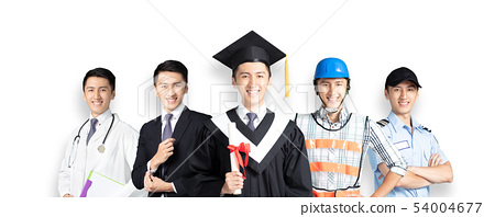 people in different occupations standing with 54004677