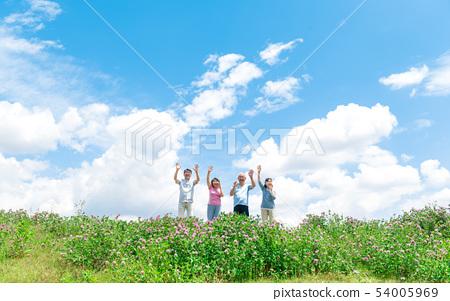 高級,藍天,運動,歡呼,揮舞著 54005969