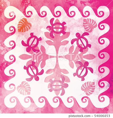 하와이안 퀼트 패턴 호누와 몬스 테라 열대   배경 일러스트 텍스처   여름의 이미지 54006853