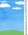푸른 하늘 초원 수채화 배경 54007976