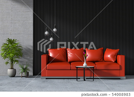 interior living room wall concrete with sofa 54008983