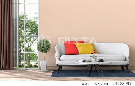 interior modern room and green landscape 54008995