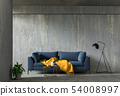interior living room wall concrete with sofa 54008997