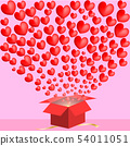 many hearts spread from red gift box on pink 54011051