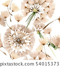 Dandelion blowball with seeds. Watercolor background illustration set. Seamless background pattern. 54015373