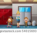 Cartoon a woman teacher and cute graduation kid 54015693