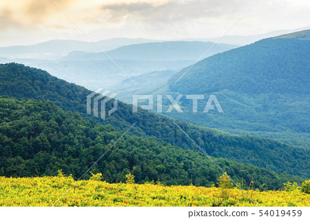 green mountain background on a cloudy forenoon 54019459