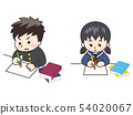 Junior high and high school students studying 54020067