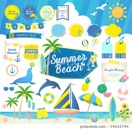 여름 해변, 바다와 하늘 / 제목 프레임 풍선 세트 54020794