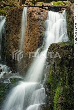 mossy boulders of waterfall 54022825