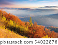 foggy autumn scenery in mountains at sunrise 54022876