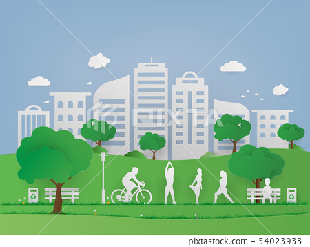 Landscape public park in urban cityscape. Green 54023933