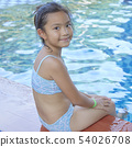 Happy Little Asian Girl At The Pool 54026708