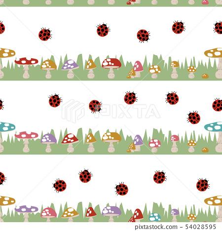 Seamless pattern of mushrooms. Cute, mushroom wallpapers. 54028595