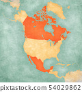 Map of North America - Canada and Mexico 54029862