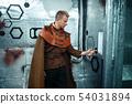 Space traveler enter data on the teleport board 54031894