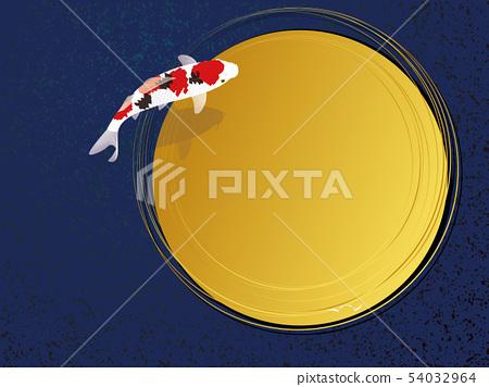 游泳螃蟹和金黃圈子日本式材料。 54032964