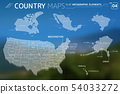 Canada, Mexico, Brazil, United States of America, Alaska, and Hawaii Vector Maps 54033272