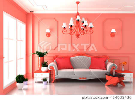 Living coral Luxury room interior and decoration 54035436