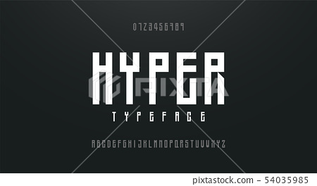 Condensed high, tall simple font alphabet 54035985