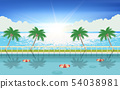 landscape of swimming pool at the beach 54038981