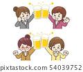 西装敬酒用啤酒的女人 54039752