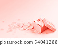 Present box on pink background with multicolored 54041288