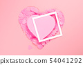 Pink heart of heart-shaped confetti with a frame. 54041292
