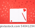 Notebook with pen on red background with 54041294