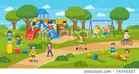 Happy Children play outside. 54048887