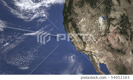 Airliner flying to Palo alto, United states from west. 3D rendering  54052163