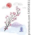 Realistic sakura blossom. Vector illustration. 54054831