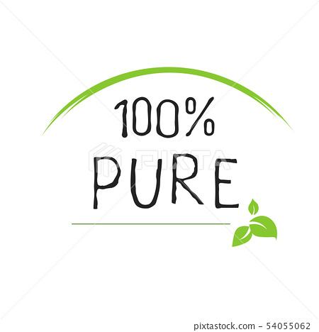 100 Pure label and high quality product badges. Bio healthy Eco food organic, bio and natural 54055062