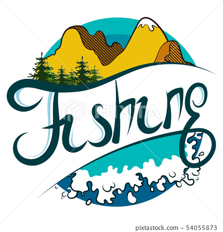 Design for fishing with waves and mountains 54055873