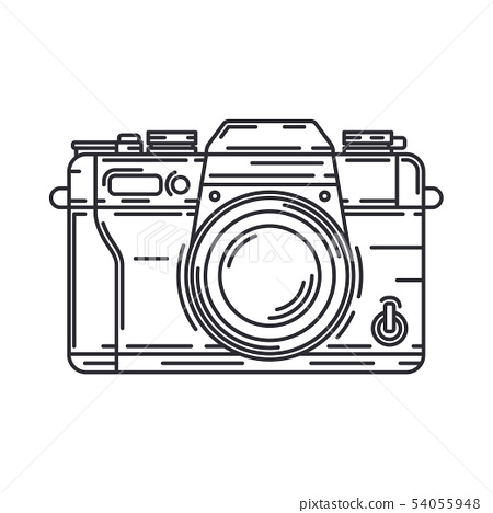 Line vector icon with digital slr professional camera. Photography art. Megapixel photocamera 54055948
